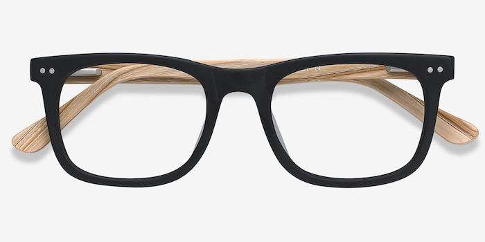 Montreal Matte Black Wood-texture Eyeglass Frames from EyeBuyDirect, Closed View