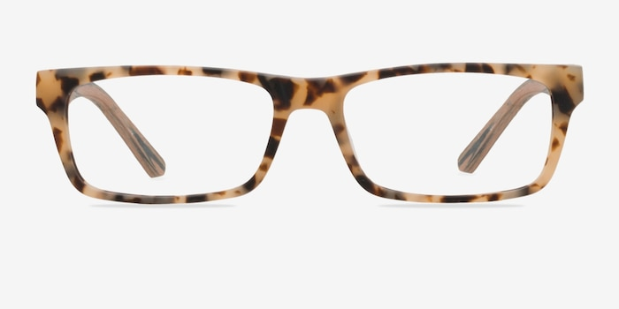 Cambridge Matte Tortoise Wood-texture Eyeglass Frames from EyeBuyDirect, Front View
