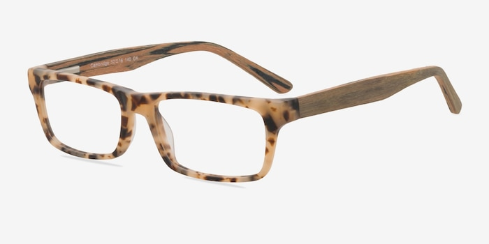 Cambridge Matte Tortoise Wood-texture Eyeglass Frames from EyeBuyDirect, Angle View