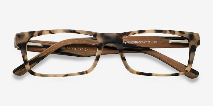 Cambridge Matte Tortoise Wood-texture Eyeglass Frames from EyeBuyDirect, Closed View
