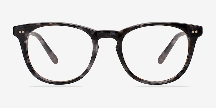 Flume Gray/Floral Acetate Eyeglass Frames from EyeBuyDirect, Front View