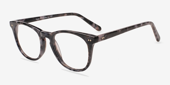 Flume Gray/Floral Acetate Eyeglass Frames from EyeBuyDirect, Angle View