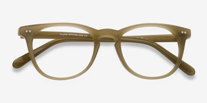 Flume Taupe Acetate Eyeglass Frames from EyeBuyDirect, Closed View