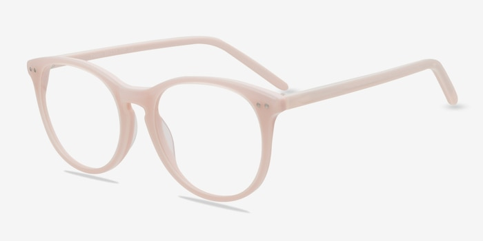 Fiction Pink Acetate Eyeglass Frames from EyeBuyDirect, Angle View