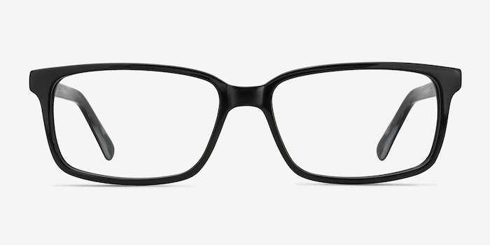Denny Black/Gray Acetate Eyeglass Frames from EyeBuyDirect, Front View