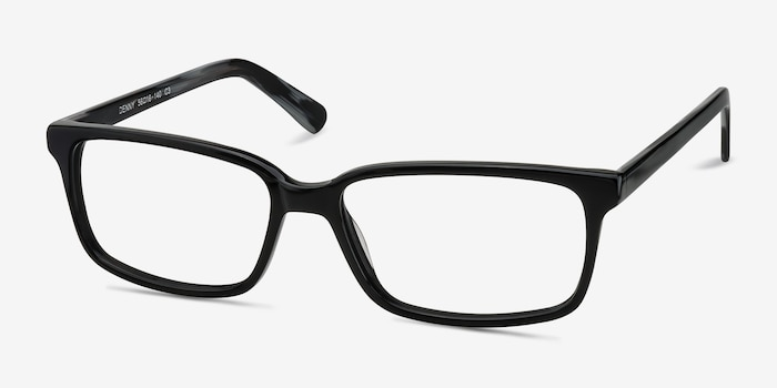 Denny Black/Gray Acetate Eyeglass Frames from EyeBuyDirect, Angle View