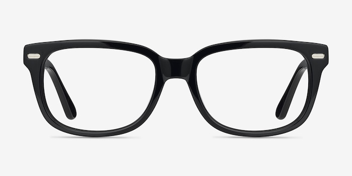 Little John Black Acetate Eyeglass Frames from EyeBuyDirect, Front View