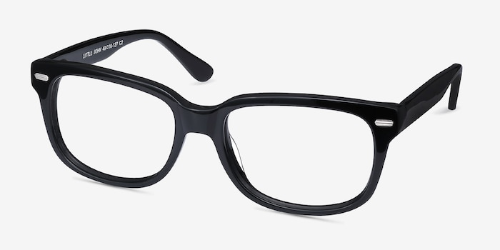 Little John Black Acetate Eyeglass Frames from EyeBuyDirect, Angle View