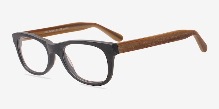 Little Panama Black Acetate Eyeglass Frames from EyeBuyDirect, Angle View