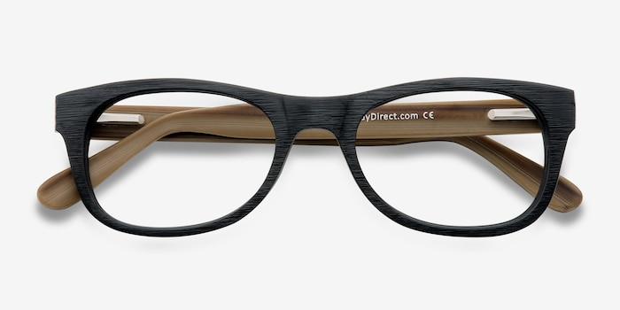 Little Panama Black Acetate Eyeglass Frames from EyeBuyDirect, Closed View