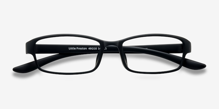 Little Preston Black Plastic Eyeglass Frames from EyeBuyDirect, Closed View