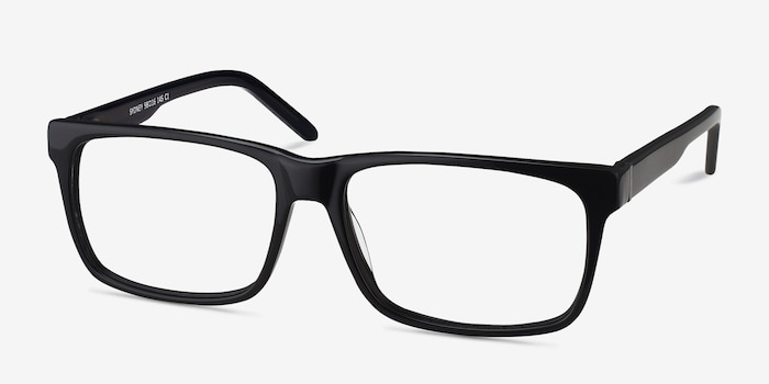 Sydney Black Acetate Eyeglass Frames from EyeBuyDirect, Angle View