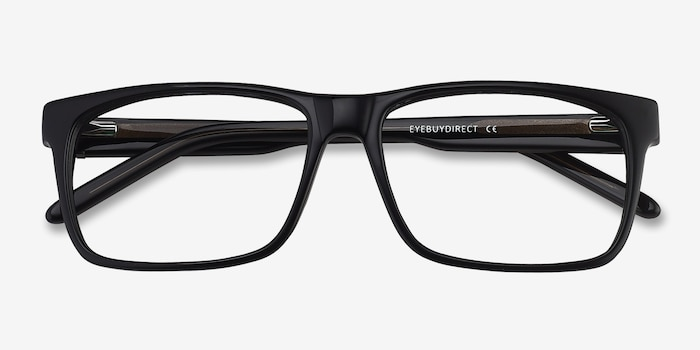 Sydney Black Acetate Eyeglass Frames from EyeBuyDirect, Closed View