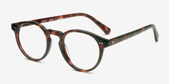 Theory Warm Tortoise Acetate Eyeglass Frames from EyeBuyDirect, Angle View