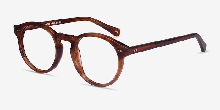 Theory Cognac Acetate Eyeglass Frames from EyeBuyDirect, Angle View