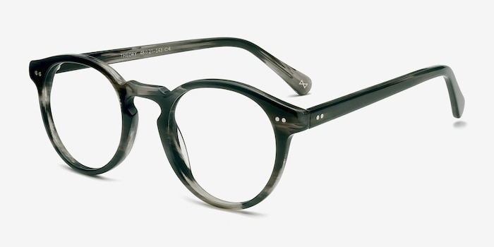 Theory Striped Granite Acetate Eyeglass Frames from EyeBuyDirect, Angle View