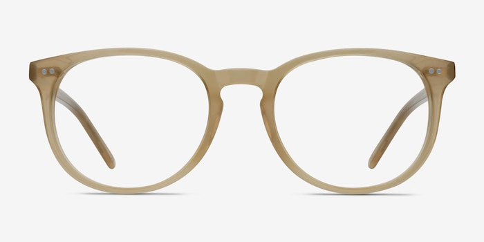 Aura Matte Champagne Acetate Eyeglass Frames from EyeBuyDirect, Front View