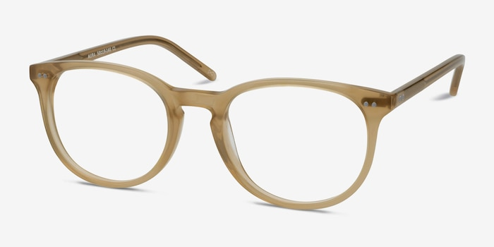 Aura Matte Champagne Acetate Eyeglass Frames from EyeBuyDirect, Angle View
