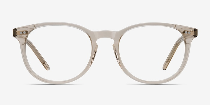 Aura Champagne Acetate Eyeglass Frames from EyeBuyDirect, Front View