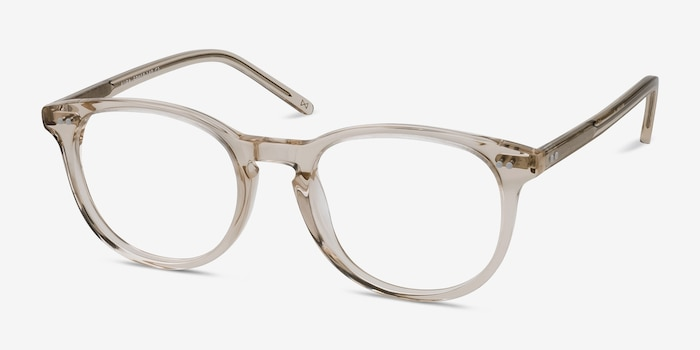Aura Champagne Acetate Eyeglass Frames from EyeBuyDirect, Angle View