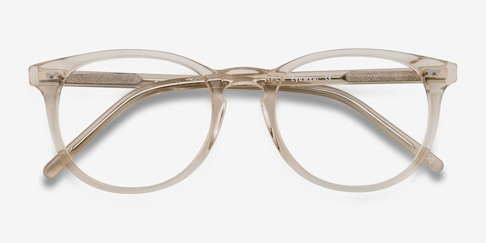 Aura Champagne Acetate Eyeglass Frames from EyeBuyDirect, Closed View