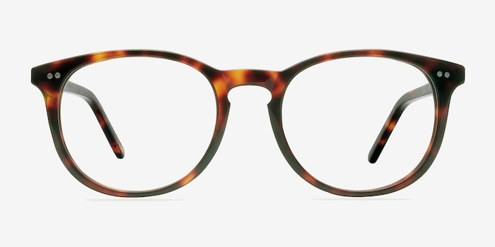 Aura Warm Tortoise Acetate Eyeglass Frames from EyeBuyDirect, Front View