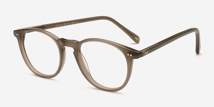 Prism Taupe Acetate Eyeglass Frames from EyeBuyDirect, Angle View