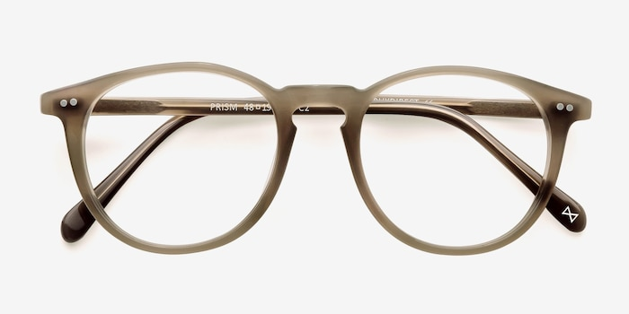 Prism Taupe Acetate Eyeglass Frames from EyeBuyDirect, Closed View