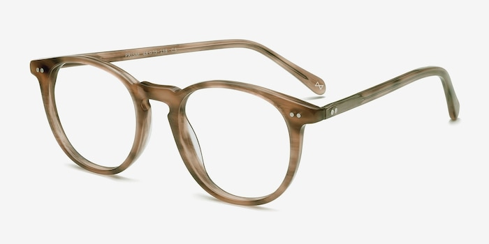 Prism Chestnut Acetate Eyeglass Frames from EyeBuyDirect, Angle View