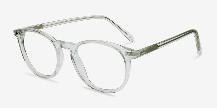 Prism Clear Acetate Eyeglass Frames from EyeBuyDirect, Angle View