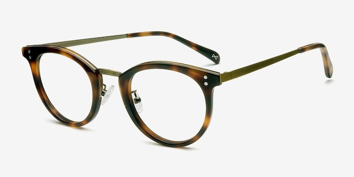 Nostalgia Caramel Metal Eyeglass Frames from EyeBuyDirect, Angle View