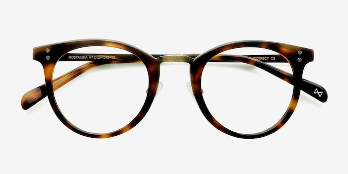 Nostalgia Caramel Metal Eyeglass Frames from EyeBuyDirect, Closed View