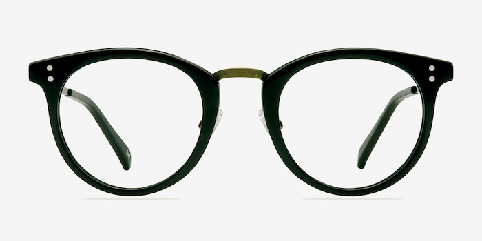 Nostalgia Charcoal Acetate Eyeglass Frames from EyeBuyDirect, Front View