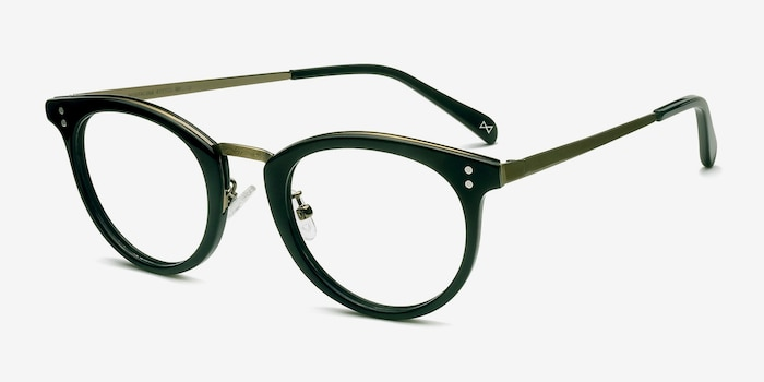 Nostalgia Charcoal Acetate Eyeglass Frames from EyeBuyDirect, Angle View