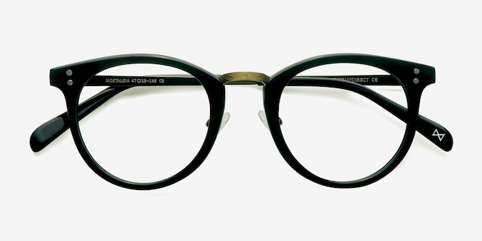 Nostalgia Charcoal Acetate Eyeglass Frames from EyeBuyDirect, Closed View