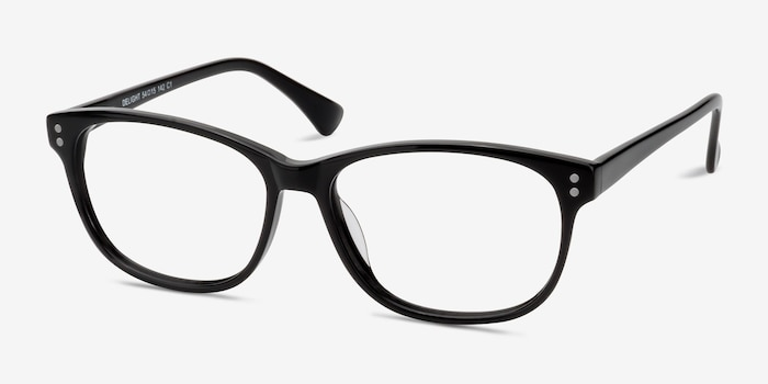 Delight Black Acetate Eyeglass Frames from EyeBuyDirect, Angle View