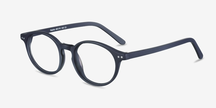Sophie  Navy  Acetate Eyeglass Frames from EyeBuyDirect, Angle View