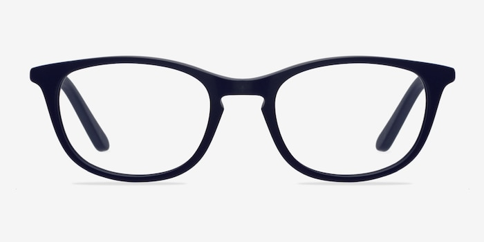 Valentin Navy Acetate Eyeglass Frames from EyeBuyDirect, Front View