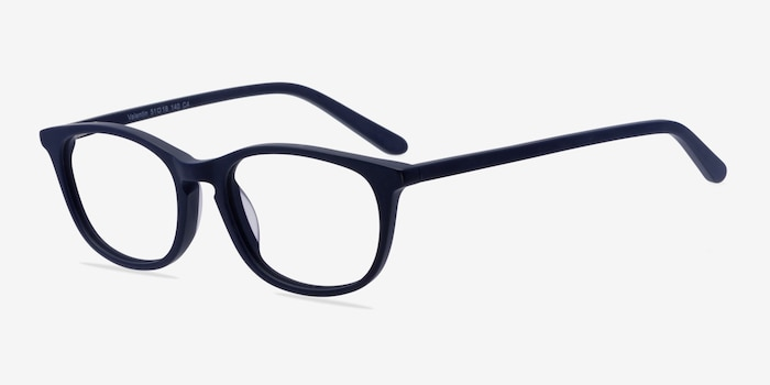 Valentin Navy Acetate Eyeglass Frames from EyeBuyDirect, Angle View