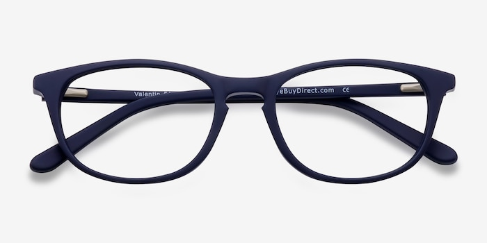 Valentin Bleu marine  Acétate Montures de Lunettes d'EyeBuyDirect, Vue Rapprochée