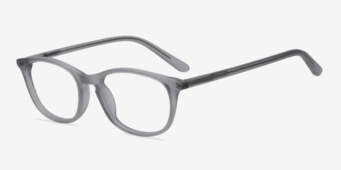 Valentin Clear/Gray Acetate Eyeglass Frames from EyeBuyDirect, Angle View