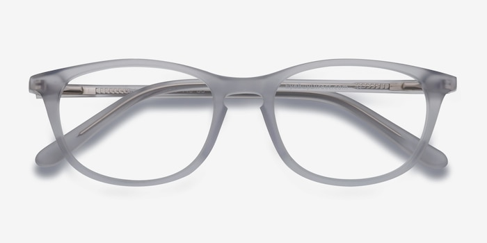 Valentin Clear/Gray Acetate Eyeglass Frames from EyeBuyDirect, Closed View