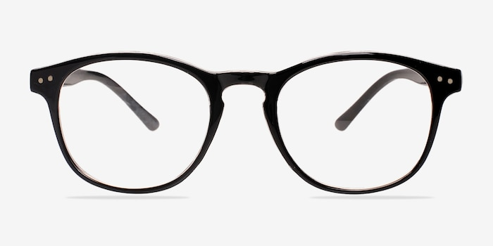 Instant Crush Clear/Black Plastic Eyeglass Frames from EyeBuyDirect, Front View