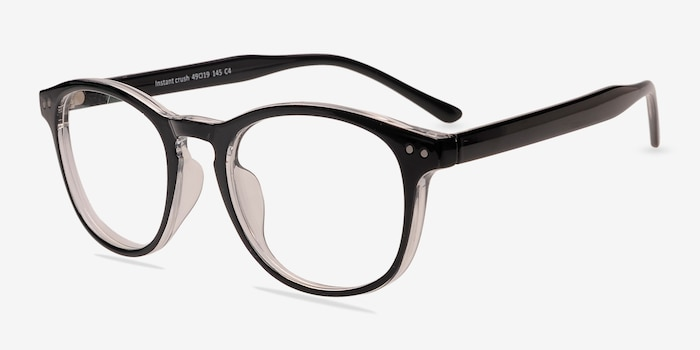 Instant Crush Clear/Black Plastic Eyeglass Frames from EyeBuyDirect, Angle View