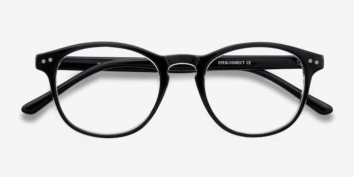 Instant Crush Clear/Black Plastic Eyeglass Frames from EyeBuyDirect, Closed View