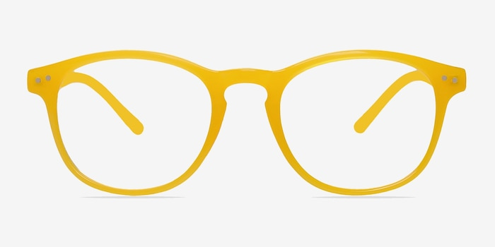 Instant Crush Yellow Plastic Eyeglass Frames from EyeBuyDirect, Front View