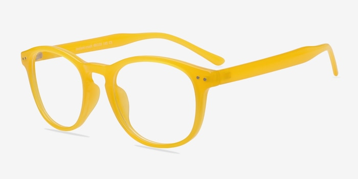 Instant Crush Yellow Plastic Eyeglass Frames from EyeBuyDirect, Angle View