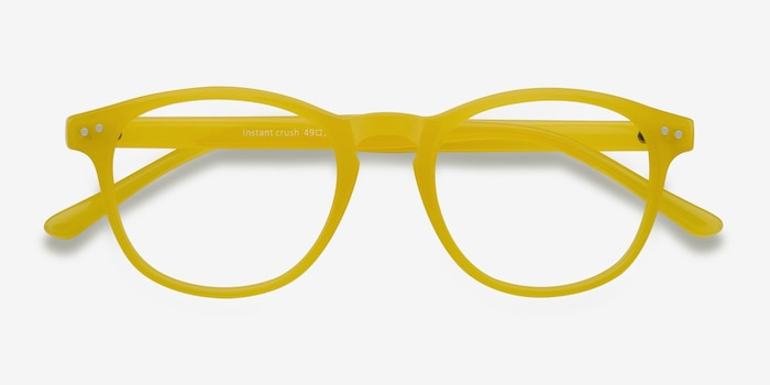 Instant Crush Yellow Plastic Eyeglass Frames from EyeBuyDirect, Closed View