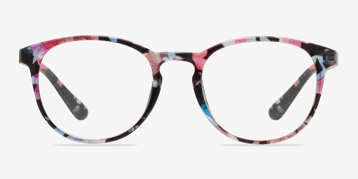 Muse Pink Floral Plastic Eyeglass Frames from EyeBuyDirect, Front View