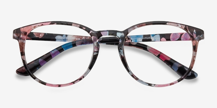 Muse Pink Floral Plastic Eyeglass Frames from EyeBuyDirect, Closed View